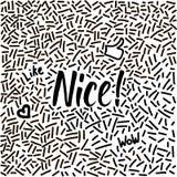 Lijn-kunst hand-drawn krabbel met modern kalligrafiewoord Nice! Royalty-vrije Stock Afbeelding