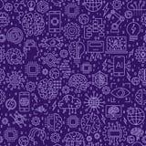 Lijn naadloos patroon Vectorillustratieachtergrond met tegels Pictogrammen op kunstmatige intelligentiethema Royalty-vrije Stock Foto