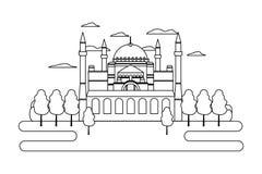 Lijn taj mahal in de bomen van India en van de schoonheid stock illustratie