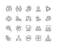 Lijn Team Work Icons royalty-vrije illustratie