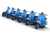 Lijn van blauwe autopedden stock fotografie
