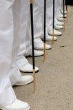 Lijn van feets en zwaarden Stock Foto