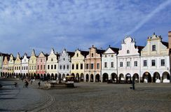 Lijn van kleurrijke barokke huizen Stock Afbeeldingen