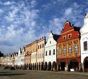 Lijn van kleurrijke barokke huizen Stock Afbeelding