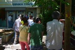 Lijn van mensen Griekse bank Stock Foto