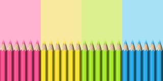 Lijn van Realistische Blauwe, Groene, Roze, Gele Potloden op Pastelkleurbedelaars Stock Foto