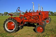 Lijn van Rode Farmall-Tractoren Stock Fotografie