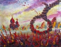 Lijn voor de doden in rood bloed, vrees, uitvoering, dood Origineel eigentijds olieverfschilderij, royalty-vrije illustratie