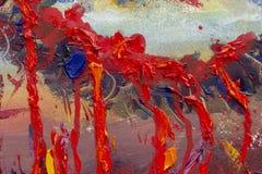 Lijn voor de doden in rood bloed, vrees, uitvoering, dood Origineel eigentijds olieverfschilderij, vector illustratie