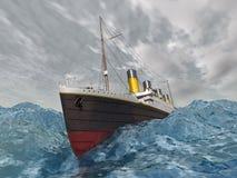 Lijnboot in de stormachtige oceaan Royalty-vrije Stock Foto's