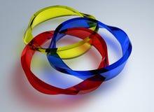 Lijncirkel met vormen die van de glas de transparante kleur wordt gecreeerd 3D geef abstract rond ontwerp terug stock illustratie