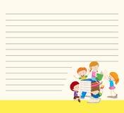 Lijndocument malplaatje met jonge geitjes die boeken lezen Royalty-vrije Stock Foto's