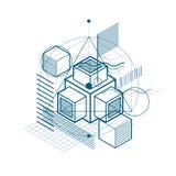 Lijnen en vormen abstracte vector isometrische 3d achtergrond lay-out Stock Afbeeldingen
