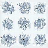 Lijnen en vormen abstracte vector isometrische 3d achtergronden Layou Stock Foto