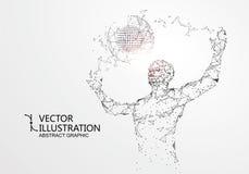Lijnen met mensen worden verbonden, die de betekenis van kunstmatige intelligentie symboliseren die vector illustratie