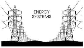 Lijnen van elektriciteitsoverdrachten op een witte achtergrond royalty-vrije illustratie