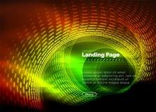 Lijnen van neon de gloeiende techno, hi-tech futuristisch abstract malplaatje als achtergrond met cirkels, landend paginamalplaat royalty-vrije illustratie