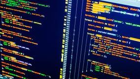Lijnen van php codage op het scherm Oranje code inzake donkerblauwe achtergrond Web het ontwikkelen zich stock foto's