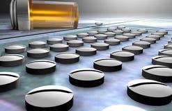 Lijnen van pillen en fles Royalty-vrije Stock Afbeeldingen
