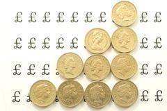 Lijnen van pondmuntstukken Royalty-vrije Stock Afbeelding
