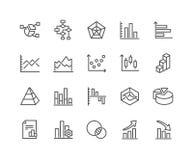 Lijngrafieken en Diagrammenpictogrammen vector illustratie
