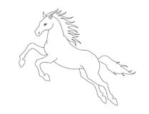 Lijnillustratie van het springen paard voor het kleuren van boeken Vector beeld Royalty-vrije Stock Foto