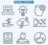 Lijnpictogrammen, bedrijfsmensen in een het werkproces stock illustratie