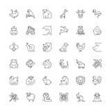 Lijnpictogrammen dieren royalty-vrije illustratie