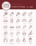 Lijnpictogrammen met snel voedselreeks stock illustratie