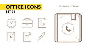 Lijnpictogrammen met vlakke elementen van bureautoestellen Royalty-vrije Stock Afbeelding