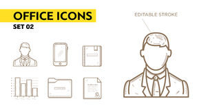 Lijnpictogrammen met vlakke elementen van bureautoestellen Stock Afbeelding