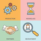 Lijnpictogrammen met vlakke ontwerpelementen worden van bedrijfsmensenmededeling, professionele steun, partnerschapsovereenkomst, royalty-vrije illustratie