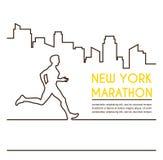 Lijnsilhouetten van vrouwelijke agent Lopende marathon, afficheontwerp royalty-vrije illustratie