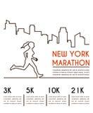 Lijnsilhouetten van vrouwelijke agent Lopende marathon, afficheontwerp stock illustratie