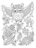 Lijntekening van boselementen - uil, bloemen, paddestoelen, berri Stock Afbeeldingen