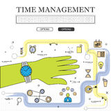 Lijntekening van concept grafische de vector van het tijdbeheer Stock Afbeelding