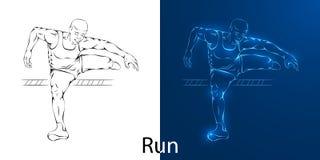 Lijntekening van mens het springen stock illustratie