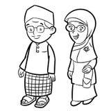 Lijntekening van Volwassen Maleisisch Beeldverhaal - Karaktervector vector illustratie