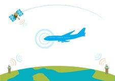 Lijnvliegtuig communicatie concept EPS10 vectorillustratie Stock Afbeeldingen