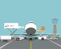 Lijnvliegtuig dat over de aarde vliegt Stock Foto