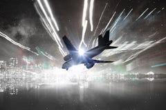 Lijnvliegtuig in hemel Gemengde media Royalty-vrije Stock Afbeeldingen