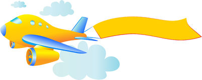 Lijnvliegtuig met banner Stock Afbeeldingen