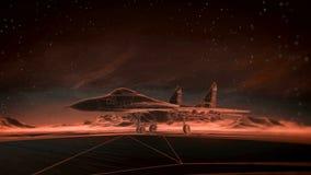 Lijnvliegtuig op de baan in de bergen De hemel van de nacht Het overgangs wireframe hologram aan photorealistic geeft terug Royalty-vrije Stock Foto's