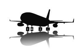Lijnvliegtuigsilhouet Stock Afbeeldingen