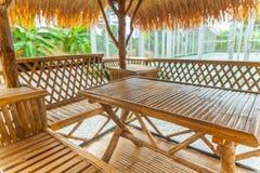 Lijst in bamboehut die wordt geplaatst Stock Foto