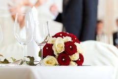 Lijst bij een huwelijksfeest stock fotografie