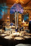 Lijst die bij een ontvangst van het luxehuwelijk plaatst Stock Afbeelding