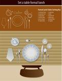Lijst die formele lunch plaatst Stock Afbeelding