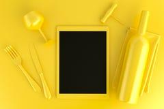 Lijst die met tabletcomputer, glas en wijnfles plaatsen Bovenkant v Royalty-vrije Stock Afbeelding