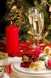 Lijst die voor de maaltijd van Kerstmis plaatst. Royalty-vrije Stock Foto